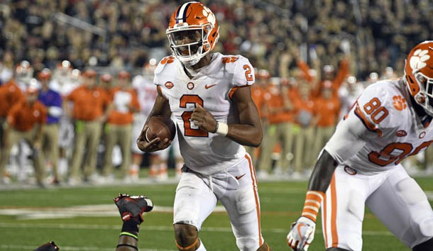 Sep 16 2017 Louisville KY USA Clemson Tigers quarterback Kelly Bryant runs the ball for a touchdown against the Louisville Cardinals during the second half at Papa John's Cardinal Stadium. Clemson defeated Louisville 47-21