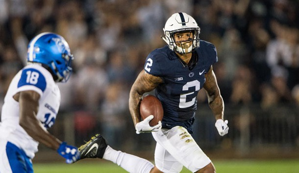 Sep 16, 2017; University Park, PA, USA; Penn State Nittany Lions safety Marcus Allen (2) returns the ball after making an interception against the Georgia State Panthers during the second quarter at Beaver Stadium. Photo Credit: Gregory J. Fisher-USA TODAY Sports