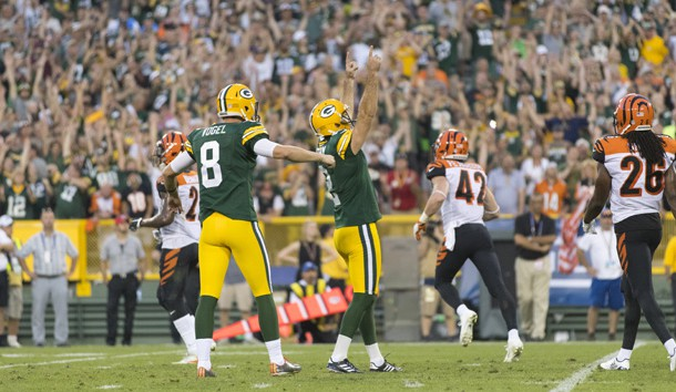 Sep 24, 2017; Green Bay, WI, USA; Green Bay Packers kicker Mason Crosby (2) celebrates after making the game winning field goal during overtime against the Cincinnati Bengals at Lambeau Field. Photo Credit: Jeff Hanisch-USA TODAY Sports