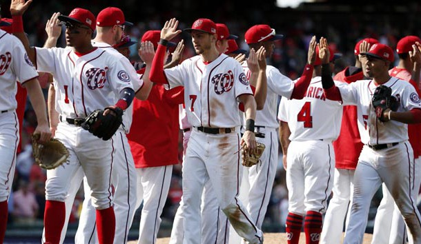 Sep 10, 2017; Washington, DC, USA; The Washington Nationals players celebrate after defeating the Philadelphia Phillies at Nationals Park. The Nationals won 3-2. Photo Credit: Amber Searls-USA TODAY Sports