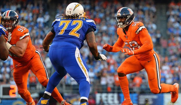 Oct 13 2016 San Diego CA USA Denver Broncos outside linebacker Von Miller works against San Diego Chargers tackle Joe Barksdale during the first quarter at Qualcomm Stadium