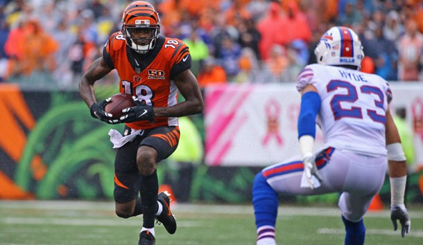 Oct 8, 2017; Cincinnati, OH, USA; Cincinnati Bengals wide receiver A.J. Green (18) makes a catch against the Buffalo Bills in the second half at Paul Brown Stadium. Photo Credit: Aaron Doster-USA TODAY Sports