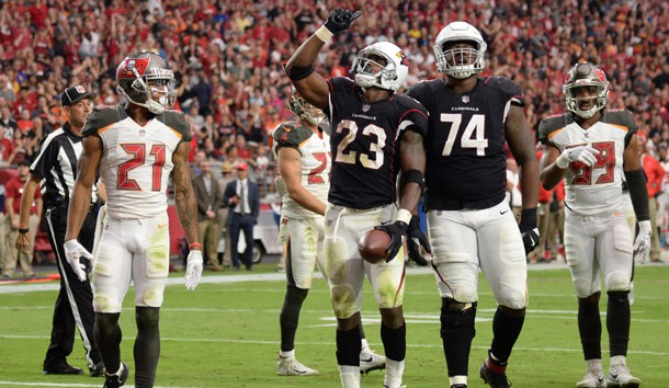 Oct 15, 2017; Glendale, AZ, USA; Arizona Cardinals running back Adrian Peterson (23) celebrates a touchdown during the second against the Tampa Bay Buccaneers at University of Phoenix Stadium. Photo Credit: Joe Camporeale-USA TODAY Sports
