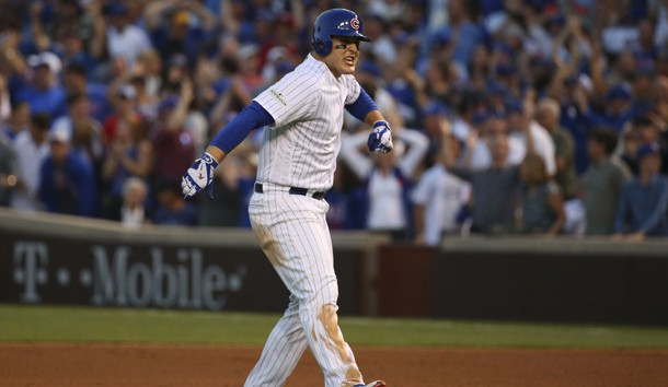 Oct 9, 2017; Chicago, IL, USA; Chicago Cubs first baseman Anthony Rizzo (44) celebrates after his RBI-single against the Washington Nationals during the eighth inning in game three of the 2017 NLDS playoff baseball series at Wrigley Field. Photo Credit: Jerry Lai-USA TODAY Sports