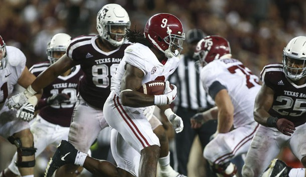 Oct 7, 2017; College Station, TX, USA; Alabama Crimson Tide running back Bo Scarbrough (9) runs with the ball during the fourth quarter against the Texas A&M Aggies at Kyle Field. Photo Credit: Troy Taormina-USA TODAY Sports