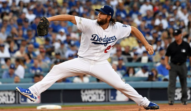 Oct 14, 2017; Los Angeles, CA, USA; Los Angeles Dodgers starting pitcher Clayton Kershaw (22) pitches against the Chicago Cubs in the first inning during game one of the 2017 NLCS playoff baseball series at Dodger Stadium. Photo Credit: Richard Mackson-USA TODAY Sports