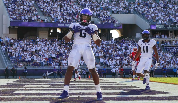 Sep 16, 2017; Fort Worth, TX, USA; TCU Horned Frogs running back Darius Anderson (6) reacts during the game against the Southern Methodist Mustangs at Amon G. Carter Stadium. Photo Credit: Kevin Jairaj-USA TODAY Sports