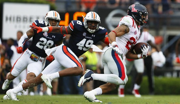 Oct 7, 2017; Auburn, AL, USA; Auburn Tigers linebacker Darrell Williams (49) chases Ole Miss Rebels running back Jordan Wilkins (22) during the second quarter at Jordan-Hare Stadium. Photo Credit: John Reed-USA TODAY Sports