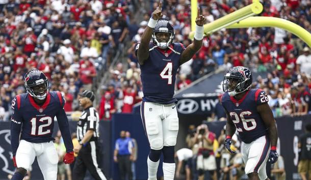 Oct 1, 2017; Houston, TX, USA; Houston Texans quarterback Deshaun Watson (4) celebrates after scoring a touchdown during the second quarter against the Tennessee Titans at NRG Stadium. Photo Credit: Troy Taormina-USA TODAY Sports