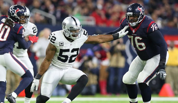 Jan 7, 2017; Houston, TX, USA; Oakland Raiders defensive end Khalil Mack (52) rushes the passer against Houston Texans tackle Duane Brown (76) in the AFC Wild Card playoff football game at NRG Stadium. Photo Credit: Matthew Emmons-USA TODAY Sports