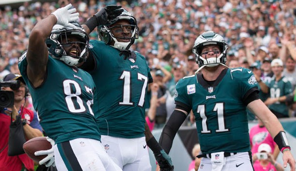 Oct 8, 2017; Philadelphia, PA, USA; Philadelphia Eagles wide receiver Torrey Smith (82) reacts with quarterback Carson Wentz (11) and wide receiver Alshon Jeffery (17) after his touchdown against the Arizona Cardinals during the second quarter at Lincoln Financial Field. Photo Credit: Bill Streicher-USA TODAY Sports