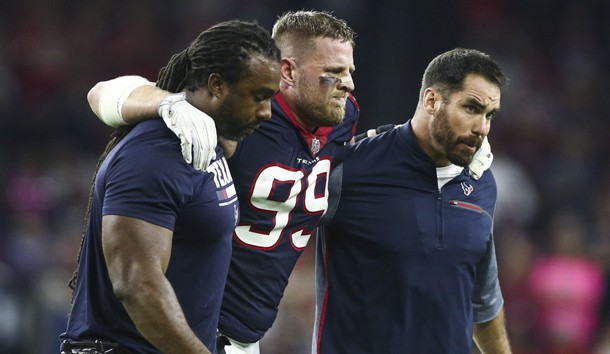 Oct 8, 2017; Houston, TX, USA; Houston Texans defensive end J.J. Watt (99) is helped off the field after an apparent injury during the first half against the Kansas City Chiefs at NRG Stadium. Photo Credit: Troy Taormina-USA TODAY Sports