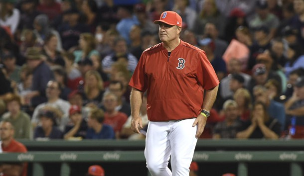 Aug 25, 2017; Boston, MA, USA; Boston Red Sox manager John Farrell (53) walks to the mound during the fifth inning against the Baltimore Orioles at Fenway Park. Photo Credit: Bob DeChiara-USA TODAY Sports