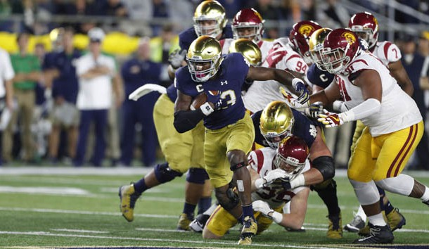 Oct 21, 2017; South Bend, IN, USA; Notre Dame Fighting Irish running back Josh Adams (33) runs with the ball against the Southern California Trojans at Notre Dame Stadium. Photo Credit: Brian Spurlock-USA TODAY Sports