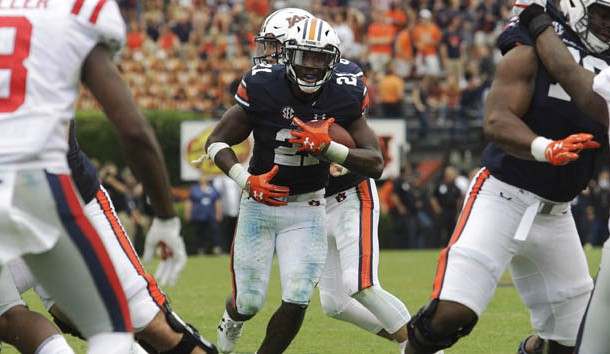 Oct 7, 2017; Auburn, AL, USA; Auburn Tigers running back Kerryon Johnson (21) runs against the Ole Miss Rebels during the third quarter at Jordan-Hare Stadium. Photo Credit: John Reed-USA TODAY Sports
