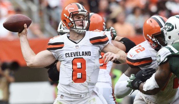 Oct 8, 2017; Cleveland, OH, USA; Cleveland Browns quarterback Kevin Hogan (8) throws a pass during the second half against the New York Jets at FirstEnergy Stadium. Photo Credit: Ken Blaze-USA TODAY Sports