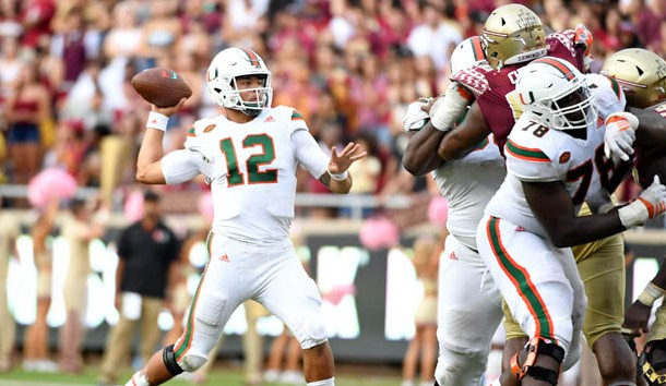 Oct 7, 2017; Tallahassee, FL, USA; Miami Hurricanes quarterback Malik Rosier (12) throws the ball during the second half against the Florida State Seminoles at Doak Campbell Stadium. Photo Credit: Melina Vastola-USA TODAY Sports