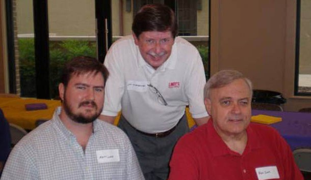 Lindy's staffers (L-R) Matt Lowe, Lyn Scarbrough and the late Ben Cook at an LSU media event ... several years ago.