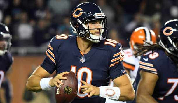 Aug 31, 2017; Chicago, IL, USA; Chicago Bears quarterback Mitchell Trubisky (10) drops back to pass against the Cleveland Browns during the first half at Soldier Field. Photo Credit: Mike DiNovo-USA TODAY Sports