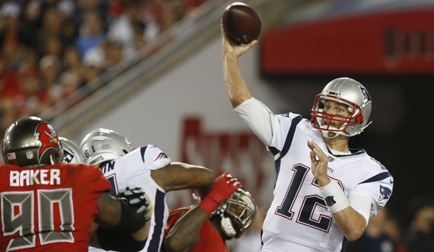 Oct 5, 2017; Tampa, FL, USA; New England Patriots quarterback Tom Brady (12) throws a pass during the second half of a football game against the Tampa Bay Buccaneers  at Raymond James Stadium. Photo Credit: Reinhold Matay-USA TODAY Sports