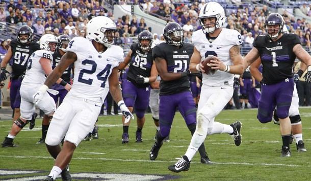 Oct 7, 2017; Evanston, IL, USA; Penn State Nittany Lions quarterback Trace McSorley (9) scores a touchdown against the Northwestern Wildcats during the second half at Ryan Field. Photo Credit: Kamil Krzaczynski-USA TODAY Sports