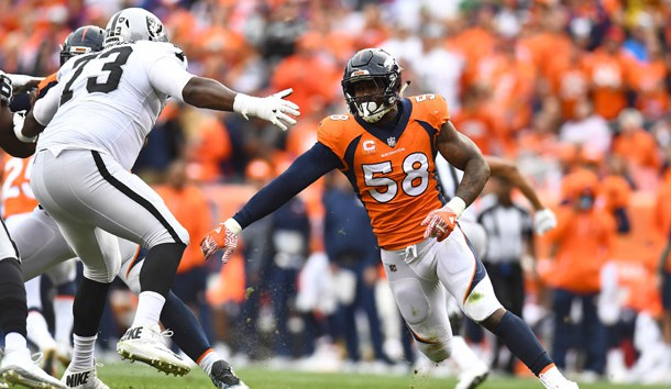 Oct 1, 2017; Denver, CO, USA; Denver Broncos outside linebacker Von Miller (58) pass rushes at Oakland Raiders offensive tackle Marshall Newhouse (73) in the third quarter at Sports Authority Field at Mile High. Photo Credit: Ron Chenoy-USA TODAY Sports