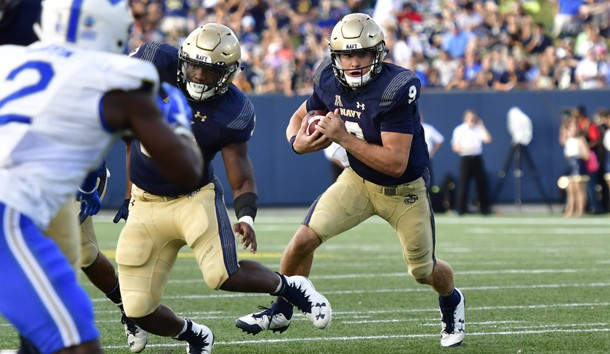 Oct 7, 2017; Annapolis, MD, USA; Navy Midshipmen quarterback Zach Abey (9) runs during the second quarter against the Air Force Falcons at Navy-Marine Corps Memorial Stadium. Photo Credit: Tommy Gilligan-USA TODAY Sports