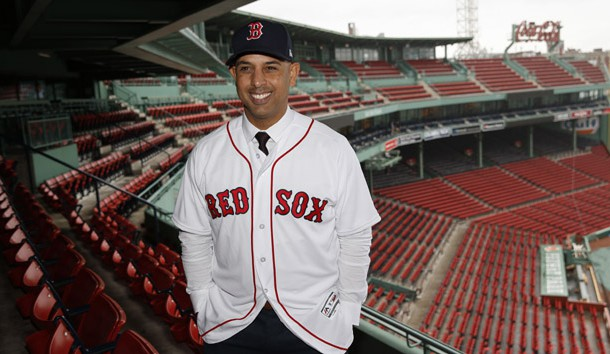 Nov 6, 2017; Boston, MA, USA; The new Red Sox head manager Alex Cora poses for a portrait with Fenway Park in the background. Mandatory Credit: Greg M. Cooper-USA TODAY Sports