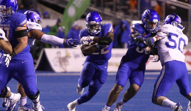 Nov 18, 2017; Boise, ID, USA; Boise State Broncos running back Alexander Mattison (22) runs for a gain during first half action against the Air Force Falcons at Albertsons Stadium. Photo Credit: Brian Losness-USA