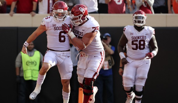 Nov 4, 2017; Stillwater, OK, USA; Oklahoma Sooners quarterback Baker Mayfield (6) celebrates with offensive lineman Dru Samia (75) after scoring a touchdown during the first half against the Oklahoma State Cowboys at Boone Pickens Stadium. Photo Credit: Kevin Jairaj-USA TODAY Sports