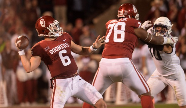 Nov 11, 2017; Norman, OK, USA; Oklahoma Sooners quarterback Baker Mayfield (6) passes the ball as offensive lineman Orlando Brown (78) blocks TCU Horned Frogs defensive end Michael Epley (40) during the second quarter at Gaylord Family - Oklahoma Memorial Stadium. Photo Credit: Mark D. Smith-USA TODAY Sports