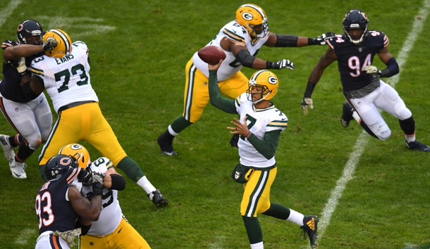 Nov 12, 2017; Chicago, IL, USA; Green Bay Packers quarterback Brett Hundley (7) passes against the Chicago Bears during the first half at Soldier Field. Photo Credit: Patrick Gorski-USA TODAY Sports