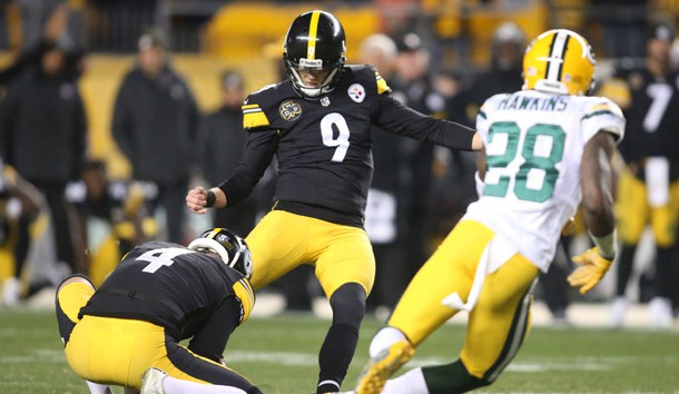 Nov 26, 2017; Pittsburgh, PA, USA;  Pittsburgh Steelers kicker Chris Boswell (9) kicks a fifty-three yard field goal as time expires to defeat the Green Bay Packers 31-28 at Heinz Field. Photo Credit: Charles LeClaire-USA TODAY Sports