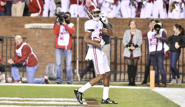Nov 11, 2017; Starkville, MS, USA; Alabama Crimson Tide wide receiver DeVonta Smith (6) reacts after scoring a touchdown against the Mississippi State Bulldogs during the fourth quarter at Davis Wade Stadium. Photo Credit: Matt Bush-USA TODAY Sports