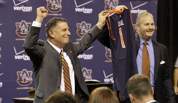 Mar 18, 2014; Auburn, AL, USA; Auburn Tigers head basketball coach Bruce Pearl is welcomed by athletics director Jay Jacobs during his introductory press conference in the Auburn Arena on Tuesday.  Photo Credit: John Reed-USA TODAY Sports