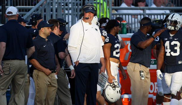 Sep 9, 2017; University Park, PA, USA; Penn State Nittany Lions offensive coordinator and quarterbacks coach Joe Moorhead (center) looks on from the sideline during the fourth quarter against the Pittsburgh Panthers at Beaver Stadium. Penn State defeated Pitt 33-14. Photo Credit: Matthew O'Haren-USA TODAY Sports