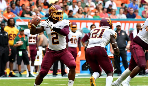 Sep 2, 2017; Miami Gardens, FL, USA; Bethune Cookman Wildcats quarterback Larry Brihm Jr. (2) throws a pass during the first half against the Miami Hurricanes at Hard Rock Stadium. Photo Credit: Steve Mitchell-USA TODAY Sports