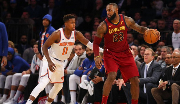 Nov 13, 2017; New York, NY, USA; Cleveland Cavaliers small forward LeBron James (23) controls the ball against New York Knicks point guard Frank Ntilikina (11) during the fourth quarter at Madison Square Garden. Photo Credit: Brad Penner-USA TODAY Sports