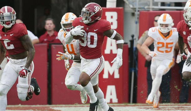 Oct 21, 2017; Tuscaloosa, AL, USA; Alabama Crimson Tide linebacker Mack Wilson (30) returns an interception that he made late in the fourth quarter against Tennessee Volunteers at Bryant-Denny Stadium. Photo Credit: Marvin Gentry-USA TODAY Sports