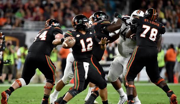 Nov 4, 2017; Miami Gardens, FL, USA; Miami Hurricanes quarterback Malik Rosier (12) throws a pass against the Virginia Tech Hokies during the first half at Hard Rock Stadium. Photo Credit: Steve Mitchell-USA TODAY Sports