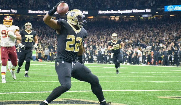 Nov 19, 2017; New Orleans, LA, USA; New Orleans Saints running back Mark Ingram after scoring a touchdown against the Washington Redskins in the NFL game at the Mercedes-Benz Superdome. Photo Credit: Scott Clause/Daily Advertiser via USA TODAY Sports