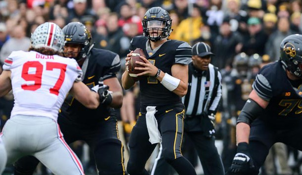 Nov 4, 2017; Iowa City, IA, USA; Iowa Hawkeyes quarterback Nathan Stanley (4) looks to throw a pass during the first quarter against the Ohio State Buckeyes at Kinnick Stadium. Photo Credit: Jeffrey Becker-USA TODAY Sports