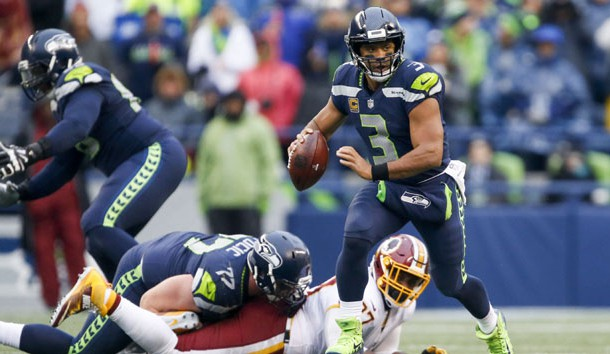 Nov 5, 2017; Seattle, WA, USA; Seattle Seahawks quarterback Russell Wilson (3) scrambles against the Washington Redskins during the third quarter at CenturyLink Field. Photo Credit: Joe Nicholson-USA TODAY Sports