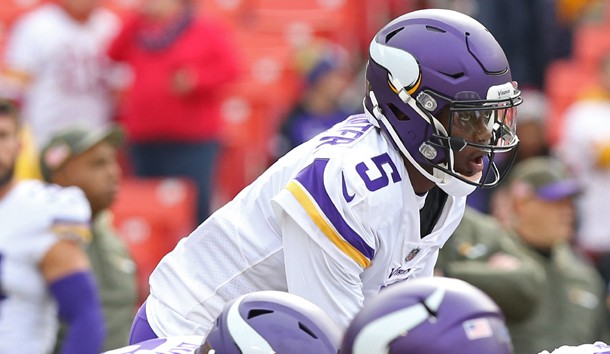 Nov 12, 2017; Landover, MD, USA; Minnesota Vikings quarterback Teddy Bridgewater (5) lines up during warm ups prior to the Vikings' game against the Washington Redskins at FedEx Field. The Vikings won 38-30. Photo Credit: Geoff Burke-USA TODAY Sports