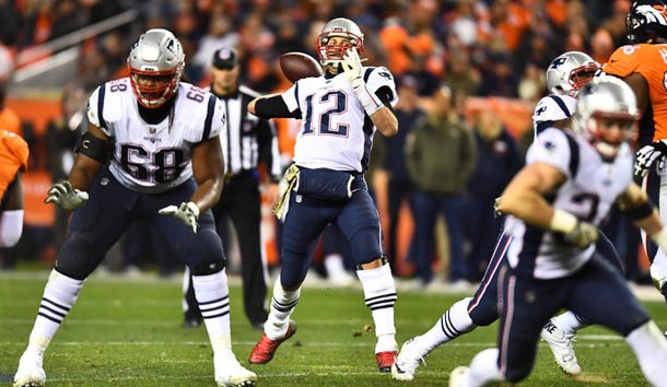 Nov 12, 2017; Denver, CO, USA; New England Patriots quarterback Tom Brady (12) prepares to pass the ball in the second half against the Denver Broncos at Sports Authority Field. Photo Credit: Ron Chenoy-USA TODAY Sports