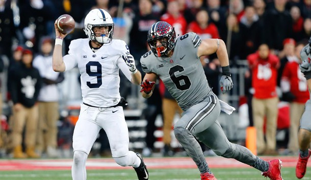 Oct 28, 2017; Columbus, OH, USA; Penn State Nittany Lions quarterback Trace McSorley (9) chased by Ohio State Buckeyes defensive end Sam Hubbard (6) during the third quarter at Ohio Stadium. Photo Credit: Joe Maiorana-USA TODAY Sports