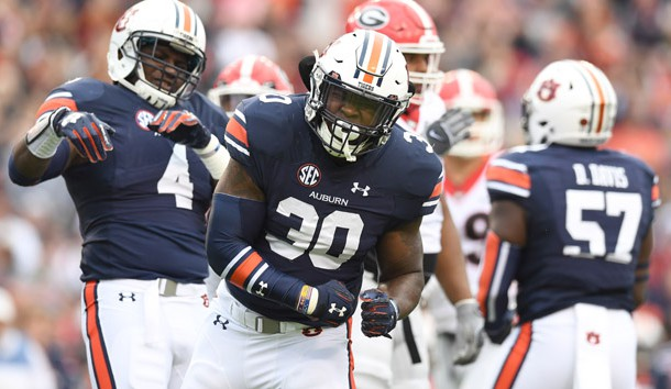 Nov 11, 2017; Auburn, AL, USA; Auburn Tigers linebacker Tre' Williams (30) reacts to a defensive play against the Georgia Bulldogs during the first quarter at Jordan-Hare Stadium. Photo Credit: John David Mercer-USA TODAY Sports