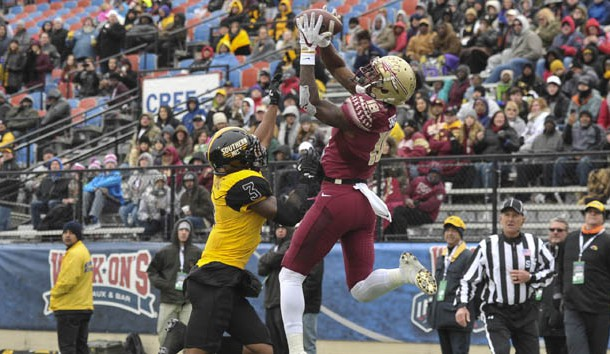 Dec 27, 2017; Shreveport, LA, USA; Florida State Seminoles wide receiver Auden Tate (18) catches a touchdown pass against Southern Miss Golden Eagles defensive back Cornell Armstrong (3) during the second half in the 2017 Independence Bowl at Independence Stadium. Photo Credit: Justin Ford-USA TODAY Sports