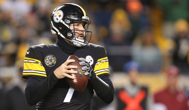 Dec 10, 2017; Pittsburgh, PA, USA;  Pittsburgh Steelers quarterback Ben Roethlisberger (7) looks to pass against the Baltimore Ravens during the first quarter at Heinz Field. Photo Credit: Charles LeClaire-USA TODAY Sports