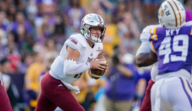Troy Trojans quarterback Brandon Silvers (12) looks to pass the ball during the game between the LSU Tigers and the Troy Trojans at Tiger Stadium. Troy Trojans won 24-21. Photo Credit: Stephen Lew-USA TODAY Sports